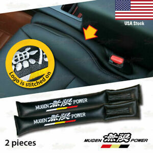 BRAND NEW 2x Car Seat seam BLACK Leather for Mugen FIT ALL CARS