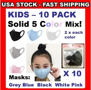 KIDS Solid COLOR Mix MASKS 10 Pack Face Coverings 3D Boys ❤ Girls Reusable Child