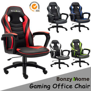 GAMING CHAIR RACING STYLE PU LEATHER OFFICE EXECUTIVE COMPUTER DESK SEAT SWIVEL $87.99