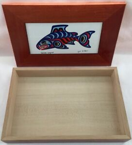 Vintage SALMON LEGEND Wood amp; Tile Trinket Box Joe Wilson Cowichan Northwest Art
