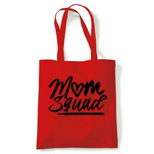 Mum Squad Funny Mum Tote Reusable Shopping Canvas Bag Gift Her