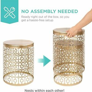 Set of 2 Accent Table Set Gold Finish Tables Nesting Round Side Furniture Table