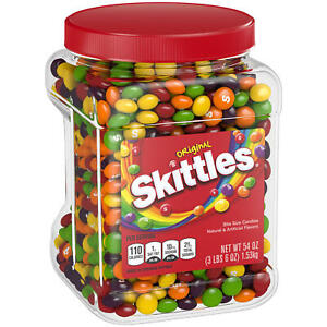 2 Pack Skittles Original Fruity Candy Jar 54 oz. Kids Children Sweety Gift