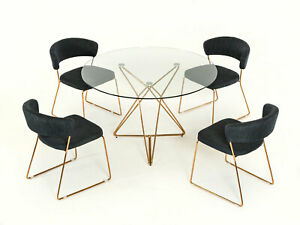 NEW 5 piece Modern Dining Room Set Furniture Round Table amp; Gray Chairs ICV5 $2164.97