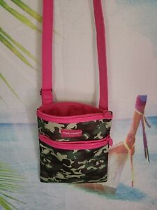 Simply Southern Crossbody Green Camo with Hot Pink Purse Excellent