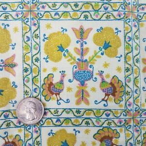 Vintage Colonial Peacock Sampler Square Fabric Remnant 24 X 43quot; $8.00