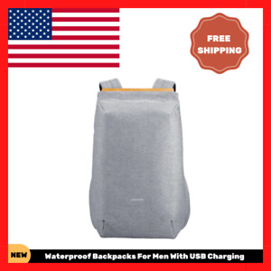 NEW Waterproof Backpacks For Men With USB Charging School Bag Anti Theft BEST