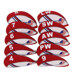 USA Flag 10PCS Neoprene Golf Iron Covers Headcovers For Titleist Mizuno Ping Red $13.99