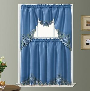 DISPLAY PASSIONATE BLOOM embroidery kitchen curtain with cutworks.RIVERSIDE BLUE