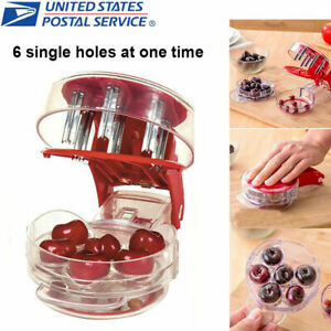 6 Holes Cherry Pitter Olive Seed Corer Remover Handheld Kitchen Machine Canning $9.47