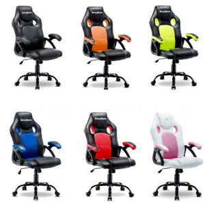 ERGONOMIC GAMING RACING CHAIR COMPUTER DESK SWIVEL OFFICE EXECUTIVE PU LEATHER $79.98