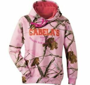 Pink Camo Hoodie Cabela#x27;s Women#x27;s Varsity Hooded Pink Realtree LARGE NEW $49.99