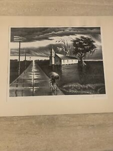 "Original Lithograph Signed Limited Edition ""RAIN"" 9 3 4 ""x 13"" Georges Schreiber $275.00"