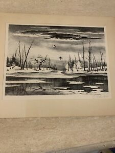 "Original Lithograph Signed Limited Edition ""SILENCE""by Georges Schreiber $345.00"
