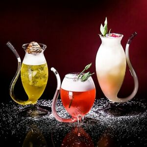 Heat resistance Glass Cup w Drinking Tube Straw for Wine Whiskey Juice Milk Tea