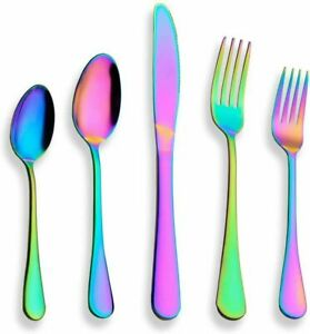 20 Piece Iridescence Rainbow Flatware Cutlery Set Stainless Steel Siverware set