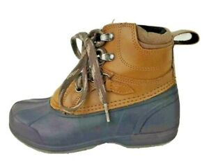 Magellan Outdoors Boys Duck Rain Boots Tan Black Leather Lace Up Hunting 13