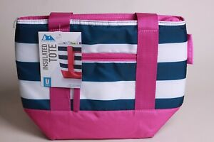Artic Zone Insulated Tote Antimicrobial Protection Blue Pink White Stripes