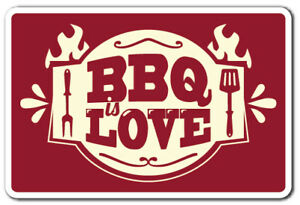 BBQ LOVE Decal summer food party grill barbeque grill chef cook