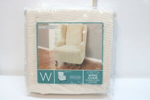 MAYTEX REEVES Stretch 1 Piece Wing Back Chair Furniture Cover Natural
