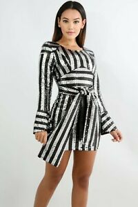 Junior Black Silver Sequin Trim Belted Wrap Body Con Mini Bell Sleeve Dress M L $34.99