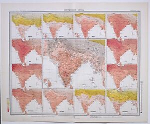 1899 LARGE WEATHER METEOROLOGY MAP ISOTHERMS INDIA ANNUAL TEMPERATURE $112.61