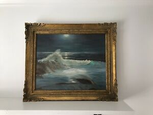 Vintage Signed Seascape Ocean Scene Gold Framed Painting 1973 21quot;x 25quot; $300.00