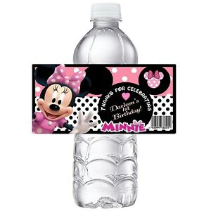 PINK MINNIE MOUSE CUSTOM BIRTHDAY PARTY FAVORS WATER BOTTLE LABELS WRAPPERS
