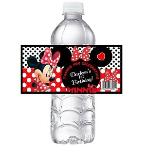 RED MINNIE MOUSE CUSTOM BIRTHDAY PARTY FAVORS WATER BOTTLE LABELS WRAPPERS