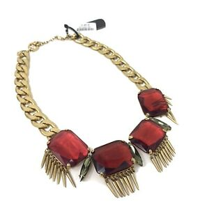 J. Crew NWT $148 Necklace Statement Red Rhinestone Chunky Womens Jewelry