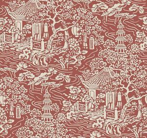 York Wallcoverings AF6576 Chinoiserie Wallpaper Red Orange