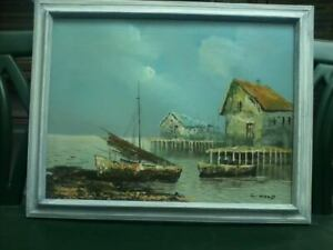 Vintage Nautical Sailboats amp; Harbor Seascape Oil on Canvas Painting signed: WOOD $54.95