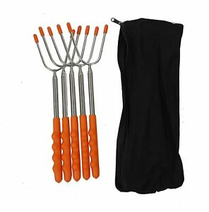 NEW 45quot; 5 Pack BBQ Marshmallow Roasting Sticks Telescoping Skewers Hot Dog Fork