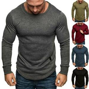 Mens Gym Sports Muscle Long Sleeve T Shirt Workout Fitness Slim Fit Tops Tee US $19.28