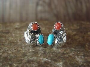 Native American Sterling Silver Turquoise Coral Post Earrings by Joe $19.99