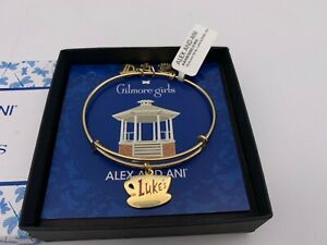 NEW Alex and Ani GILMORE GIRLS LUKE#x27;S Charm Bangle Bracelet Gold NWT BOX $33.99