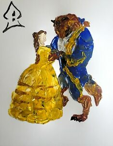 Andrew Harr Original Painting Disney Beauty and The Beast Acrylic Abstract Art $46.00