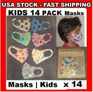 KIDS 14 Pack Face Cover 3D Mask Washable Cloth Reusable Protective Boys ❤ Girls