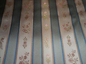 Vintage French Satin Lisere Brocade Floral Stripe Fabric #1 Blue Gray Pink