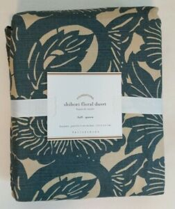 NEW Pottery Barn Shibori Floral Patterned Duvet Cover FULL QUEEN FQ Blue