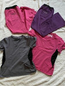 Benefit Helix Scrubs Lot 2x Pink Purple Gray Grey Stretch