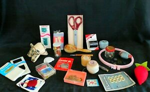 GRANDMA#x27;S SEWING DRAWER VINTAGE MIXED LOT OF TOOLS NOTIONS amp; DOG TAPE MEASURE $28.00