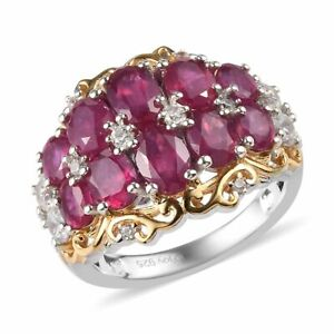 African Ruby and Zircon Ring in Vermeil Yellow Gold and Platinum Over 925STS
