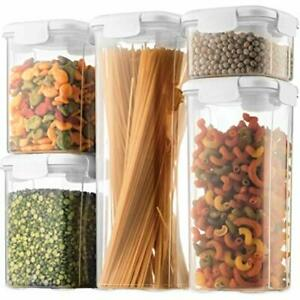 Airtight Food Storage Containers With Lids 5Piece BPAFree Plastic Pantry Storage