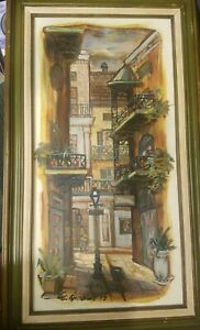 Vintage Large Framed Oil Painting Canvas Mexico House Village Scene 1970#x27;s $49.95
