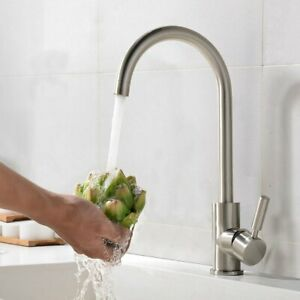 Kitchen Faucet Modern Stainless Mixer Brushed Sink Bathroom 360° Rotating Faucet