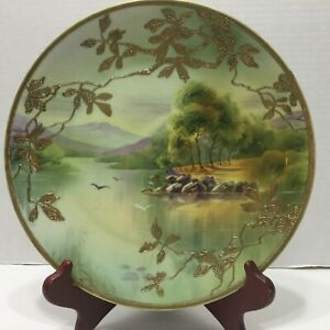 Vintage Nippon Hand Painted Plate Gold Moriage Leaves