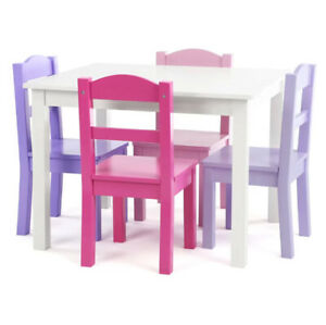 KIDS PLAY TABLE CHAIR SET 5 Piece Toddler Writing Reading Activity Desk Pink