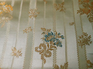 Antique Vintage French Lisere Floral Silk Brocade Fabric Gray Blue Gold