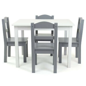 KIDS PLAY TABLE CHAIR SET 5 Piece Toddler Writing Reading Activity Desk Gray